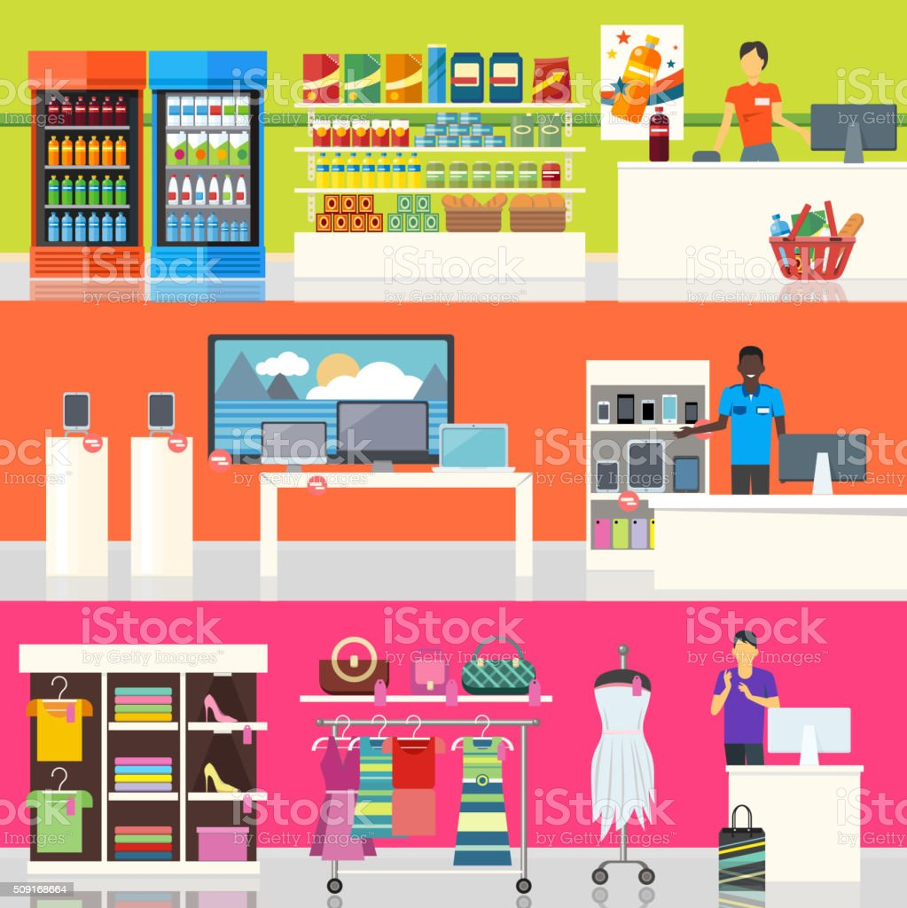 People in Supermarket Interior Design vector art illustration