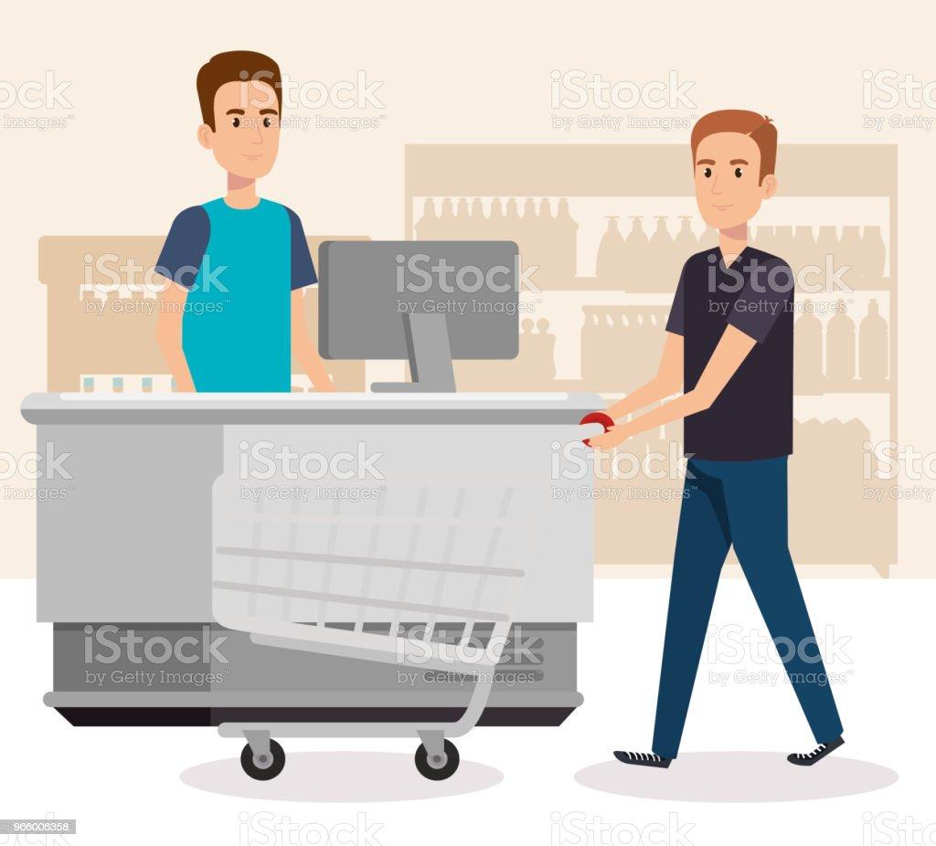 mensen in supermarkt betaling punt - Royalty-free Bedrijfsleven vectorkunst