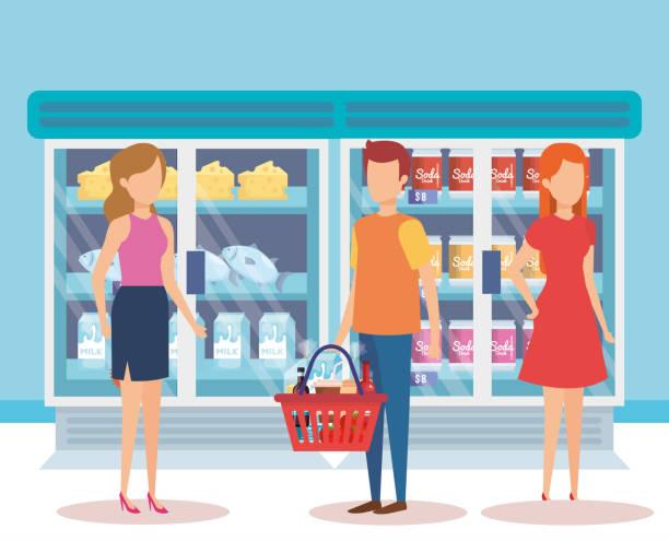 menschen im supermarkt kühlschrank mit produkten - schrankkorb stock-grafiken, -clipart, -cartoons und -symbole