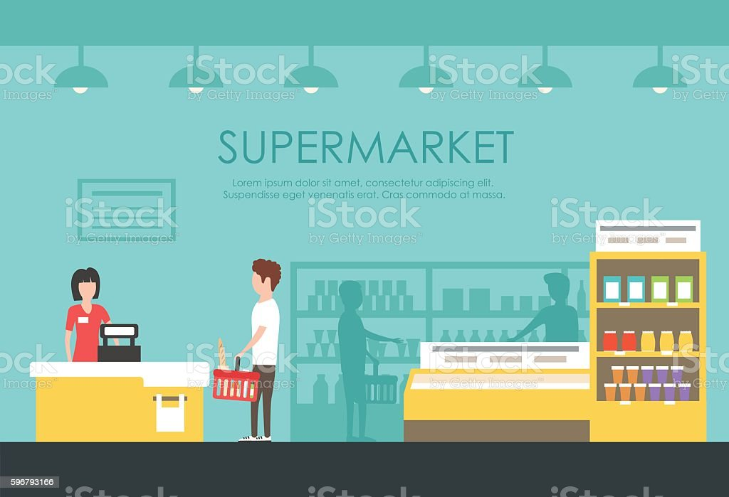 People in supermarket. Vector flat illustration. Grocery store vector art illustration