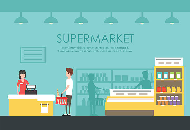 people in supermarket. vector flat illustration. grocery store - 실내 stock illustrations