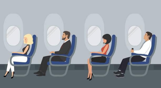 i̇nsanlar uçak kabin - airplane seat stock illustrations