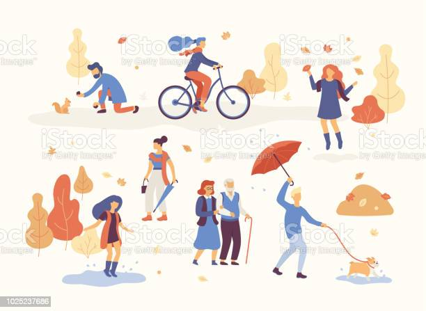 People in the autumn park having fun walking the dog riding bicycle vector id1025237686?b=1&k=6&m=1025237686&s=612x612&h=mlxkuguozoyednmlq0oy9zgy5ocamcmblqqyjhrtsxm=
