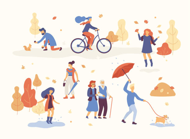 people in the autumn park having fun, walking the dog, riding bicycle, jumping on puddle, playing with autumn leaves, man with umbrella and bulldog. set casual men and women in forest in fall vector - lifestyle stock illustrations