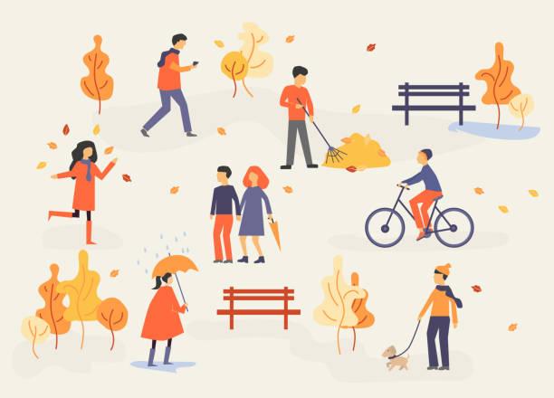 bildbanksillustrationer, clip art samt tecknat material och ikoner med människor i höst park, avkopplande, gå på hund, ridning cykel, ha kul, platt design stil vektorgrafik - hund skog