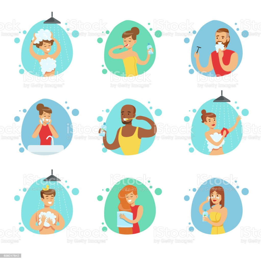 People In The Bathroom Doing Their Routine Hygiene vector art illustration