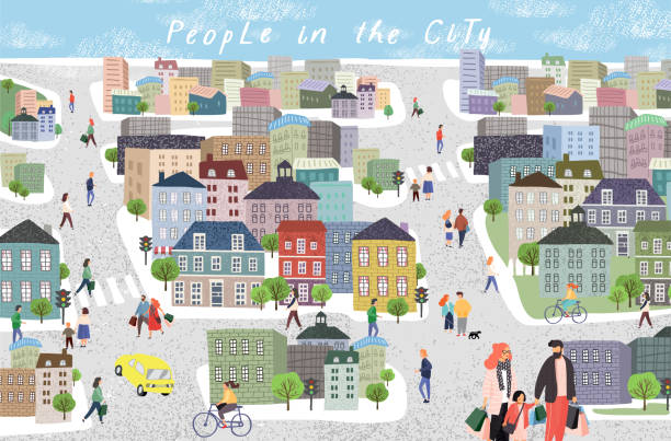 people in the city. cute cityscape vector illustration with people, cars, buildings, houses and trees. urban panorama drawing - небольшой город stock illustrations