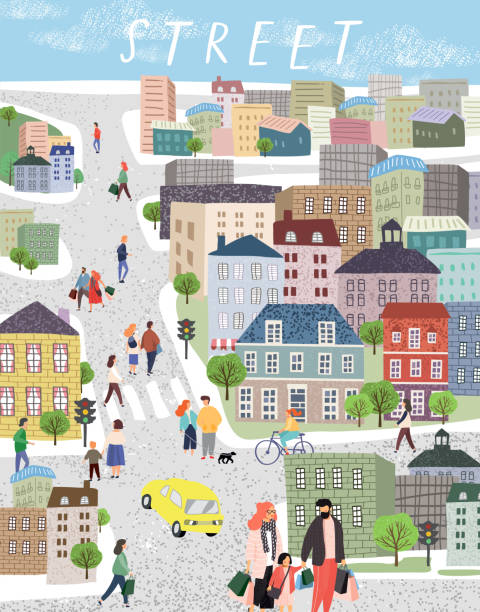 People in the city. Cute cityscape vector illustration with people, cars, buildings, houses and trees. Urban panorama drawing vector art illustration
