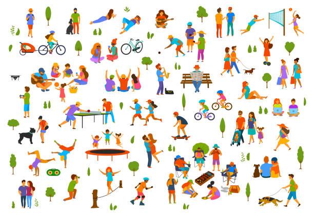illustrations, cliparts, dessins animés et icônes de gens dans la collection extérieur ville parc nature. homme femme enfants adultes amis famille couple marchent avec chiens, conversation relax lire des livres break dance, jeu de volley-ball, pétanque, tennis de table - vacances en famille