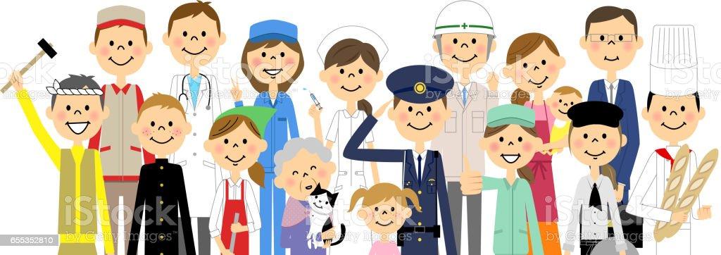 As pessoas da cidade - ilustração de arte em vetor