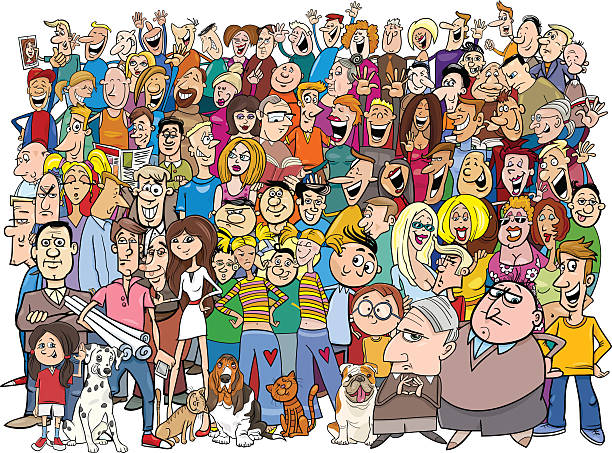 people in the crowd cartoon - karikatur stock-grafiken, -clipart, -cartoons und -symbole