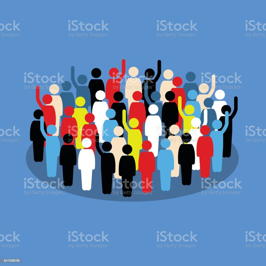 People in the crowd raising hand to show support and vote. vector art illustration