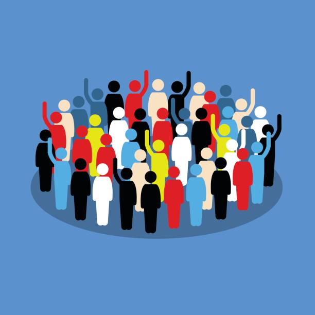 People in the crowd raising hand to show support and vote. Vector artwork depicts society, differences, democracy, and public voting. democracy stock illustrations
