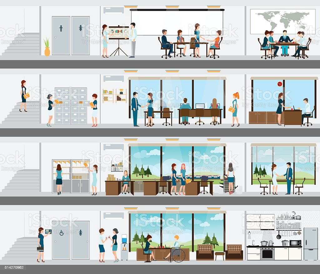People in the interior of the building. vector art illustration