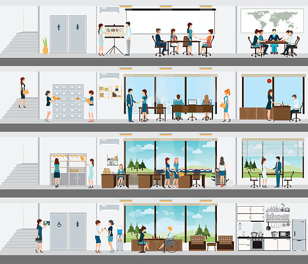 People in the interior of the building. People in the interior of the building, Interior office building, office interior people, room office desk, office space, meeting room,  conference room vector illustration. bathroom designs stock illustrations
