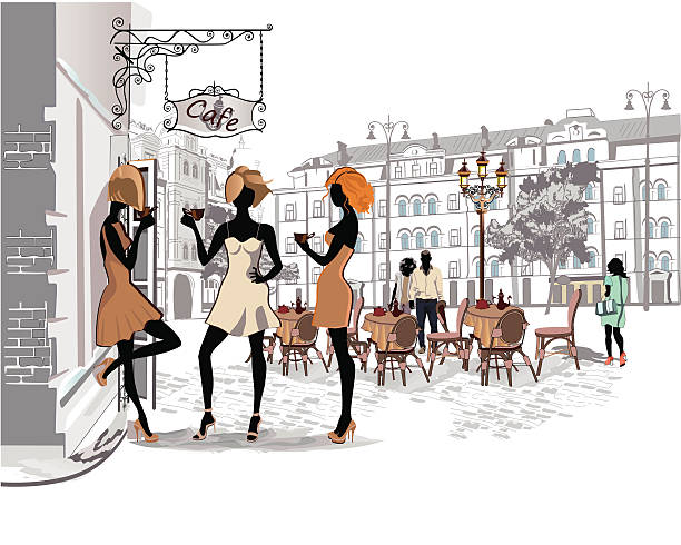 people in the old city - london fashion stock illustrations, clip art, cartoons, & icons