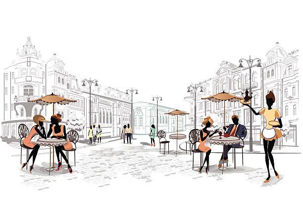 Gens dans la vieille ville - Illustration vectorielle