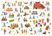 people in the park collection. man woman couples family children friends group seniors walking relaxing sit on benches work on laptops, read books, exercise, on picnic, party, dance, play ball, lying sunbathing ride bike, do yoga, eat at food truck hot dogs,ride pony, play in sandbox, enjoying summer vector illustration isolated scenes set