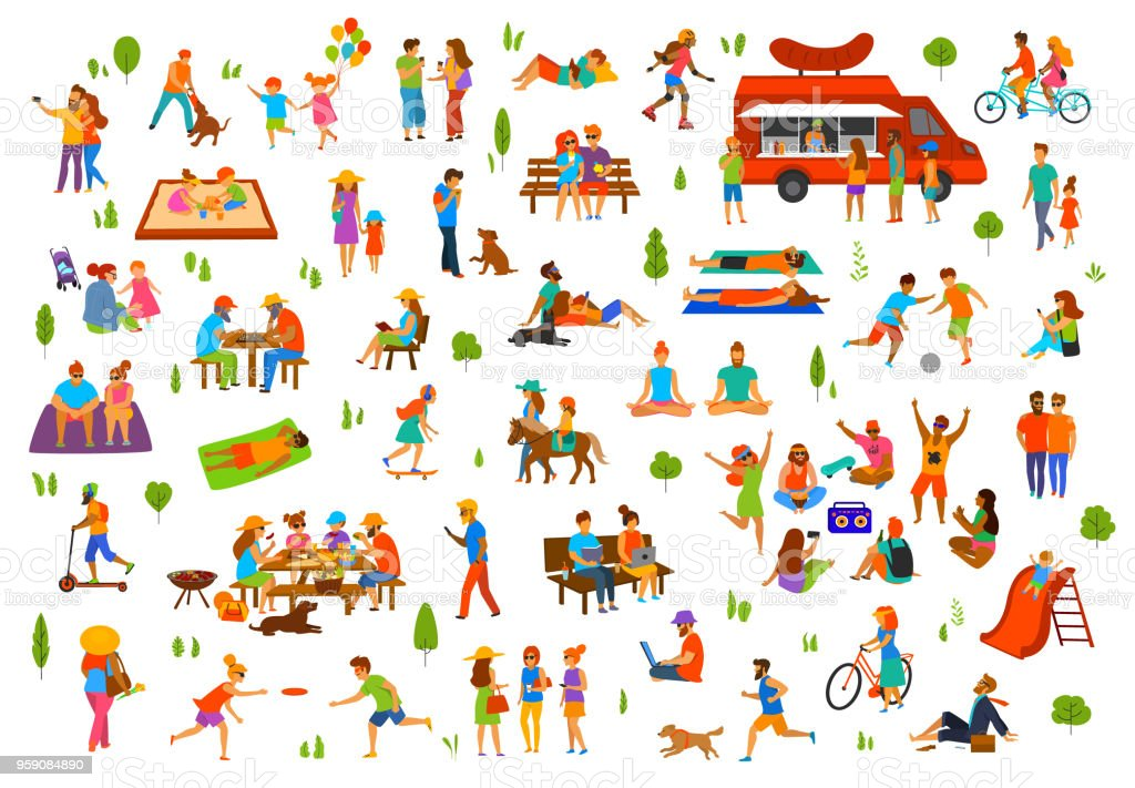 people in the park collection. man woman couples family children friends group seniors walking relaxing sit on benches work on laptops, read books, exercise, on picnic, party, dance, play ball, lying sunbathing ride bike, vector art illustration