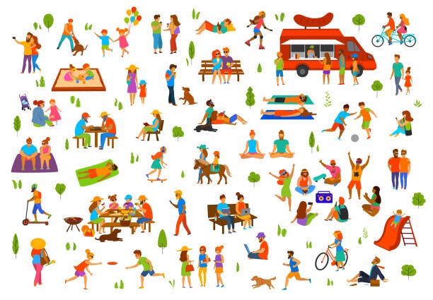 ilustrações, clipart, desenhos animados e ícones de pessoas na coleção de parque. homem mulher casais crianças família grupo amigos idosos andando relaxante sentar-se no trabalho de bancos em laptops, ler livros, exercício, piquenique, festa, dança, jogar bola, mentindo para banhos de sol passeio de bicicleta, - viagens e férias da família