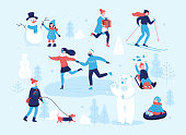 People in the park having fun and winter activities, skiing, skating, girl walking the dog, child making a snowman, children sledding on mountain slope. Couple on skate rink. Winter mood flat concept