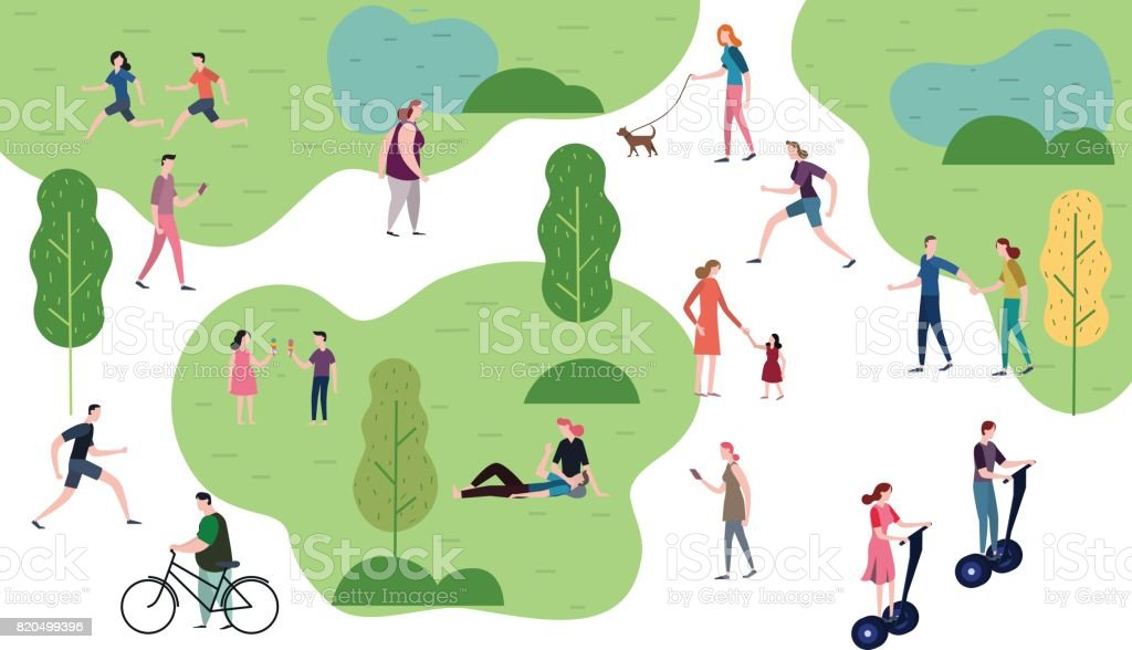 公園に人が。人々 の文字ベクトル イラストのフラット デザイン。 ベクターアートイラスト