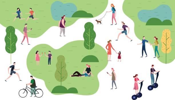 公園に人が。人々 の文字ベクトル イラストのフラット デザイン。 - ピクニック点のイラスト素材/クリップアート素材/マンガ素材/アイコン素材
