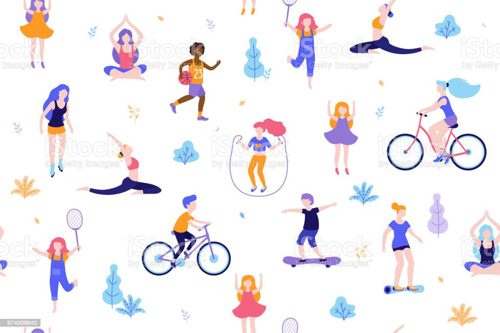 People in the park seamless pattern white background. Children doing activities and sports outdoor flat design vector illustration. Women doing yoga, stretching, fitness outside isolated. royalty-free people in the park seamless pattern white background children doing activities and sports outdoor flat design vector illustration women doing yoga stretching fitness outside isolated stock illustration - download image now
