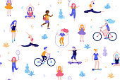People in the park seamless pattern white background. Children doing activities and sports outdoor flat design vector illustration. Women doing yoga, stretching, fitness outside isolated