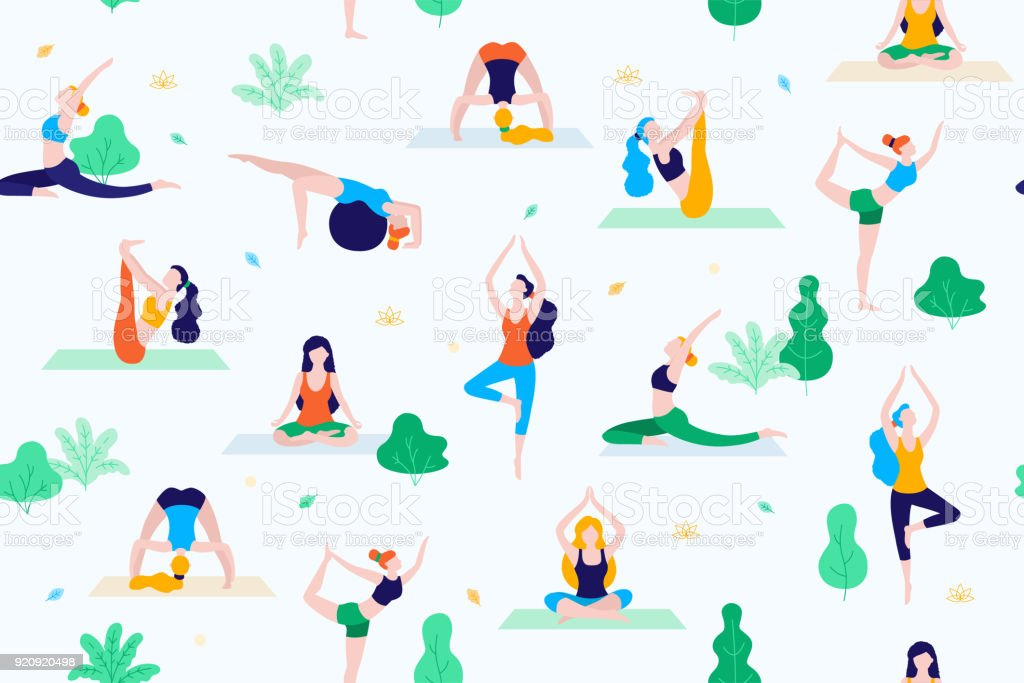 People in the park vector flat illustration. Women walk in the park and do sports, yoga and physical exercises. Park seamless pattern. vector art illustration