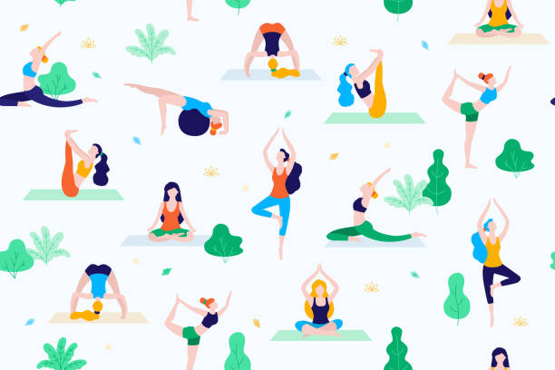 people in the park vector flat illustration. women walk in the park and do sports, yoga and physical exercises. park seamless pattern. - yoga stock illustrations, clip art, cartoons, & icons