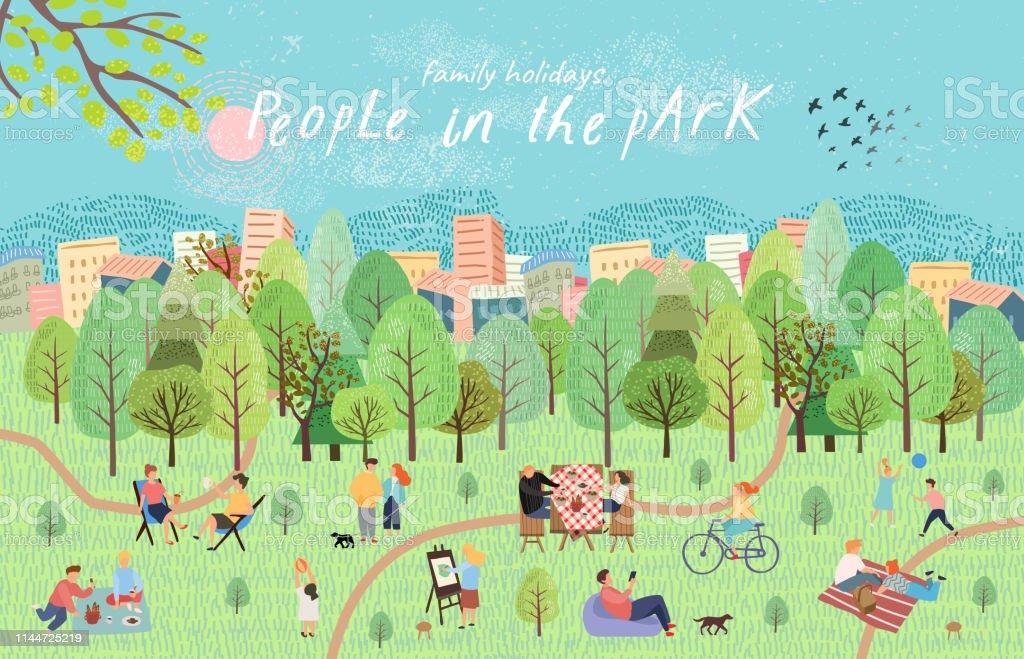 公園にいる人たち自然の中でピクニックに休息を持つ人々のベクトルイラスト。森の中で、バーベキュー、子供のゲーム、散歩と湖で手のアクティブな家族の週末を描画します。上面図 - イラストレーションのロイヤリティフリーベクトルアート