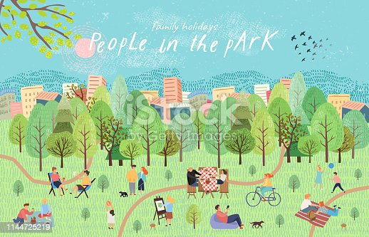 People in the park. Vector illustration of people having a rest on a picnic in nature. Drawing by hand active family weekend in the forest by the lake with a barbecue, children's games, walks.Top view