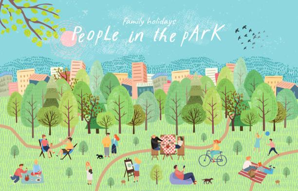 bildbanksillustrationer, clip art samt tecknat material och ikoner med människor i parken. vektor illustration av människor som har vila på picknick i naturen. ritning för hand aktiv familj helg i skogen vid sjön med en grill, barn spel, promenader. topp-vy - utomhus