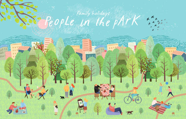 people in the park. vector illustration of people having a rest on a picnic in nature. drawing by hand active family weekend in the forest by the lake with a barbecue, children's games, walks.top view - небольшой город stock illustrations
