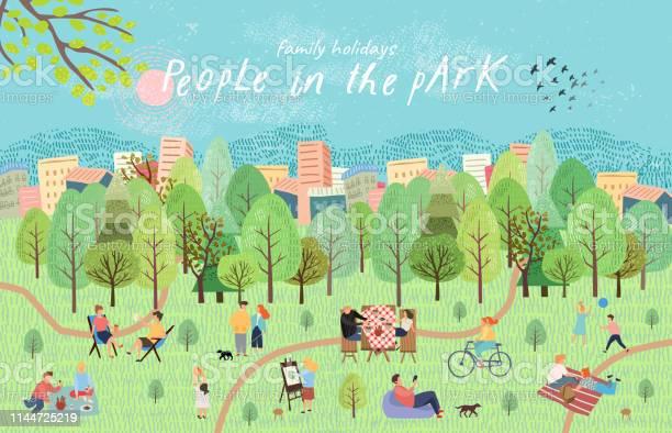 公園にいる人たち自然の中でピクニックに休息を持つ人々のベクトルイラスト森の中でバーベキュー子供のゲーム散歩と湖で手のアクティブな家族の週末を描画します上面図 - イラストレーションのベクターアート素材や画像を多数ご用意