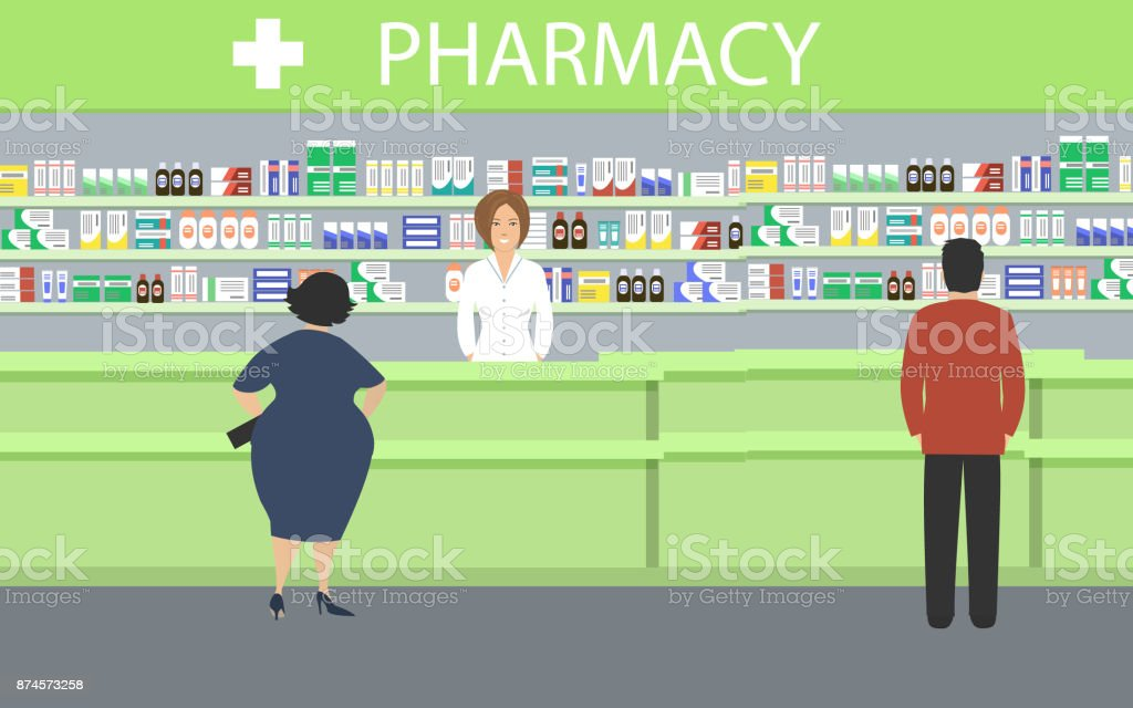 People in the pharmacy vector art illustration