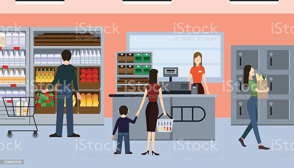 People in the shop vector art illustration