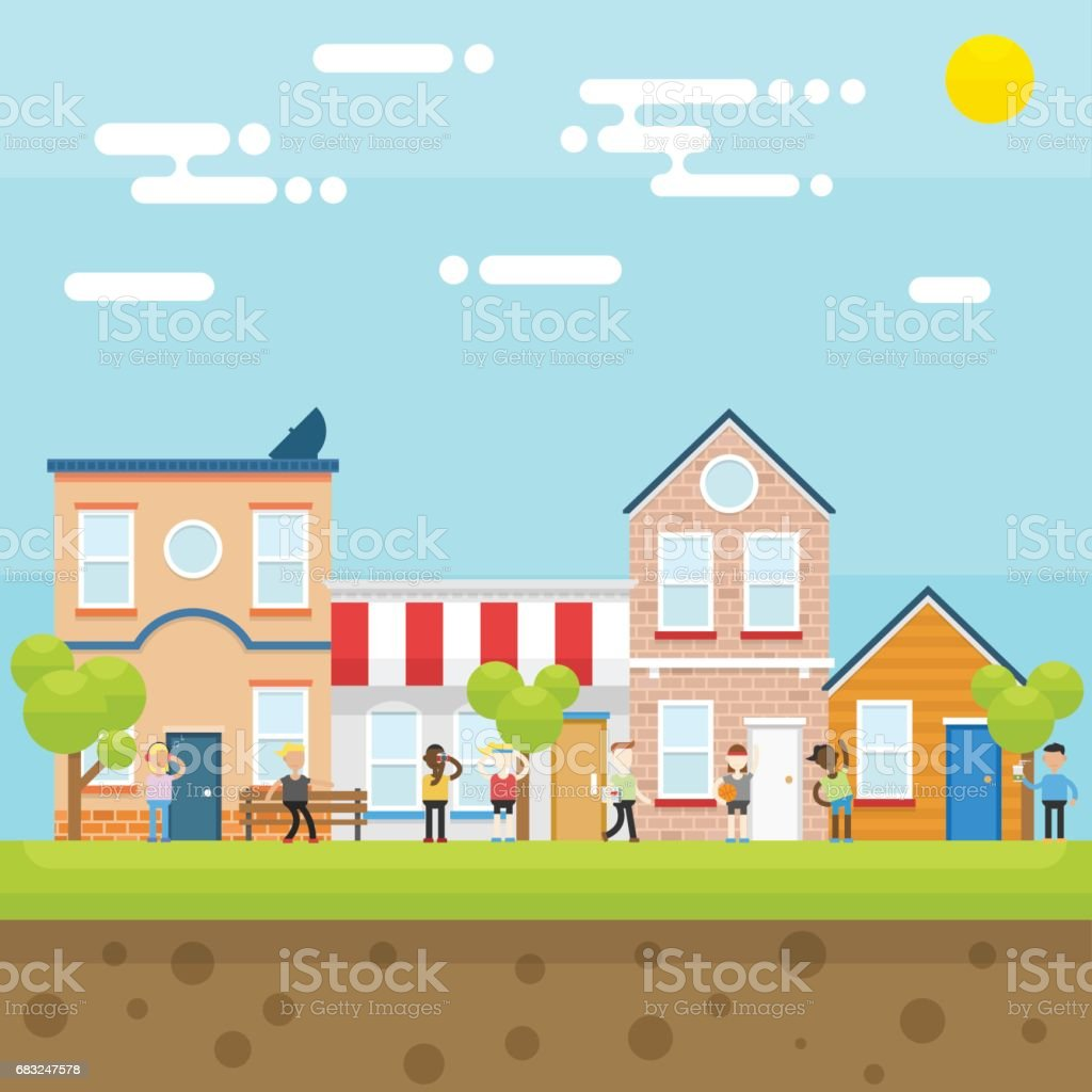 마을 사람들 royalty-free 마을 사람들 건축물에 대한 스톡 벡터 아트 및 기타 이미지