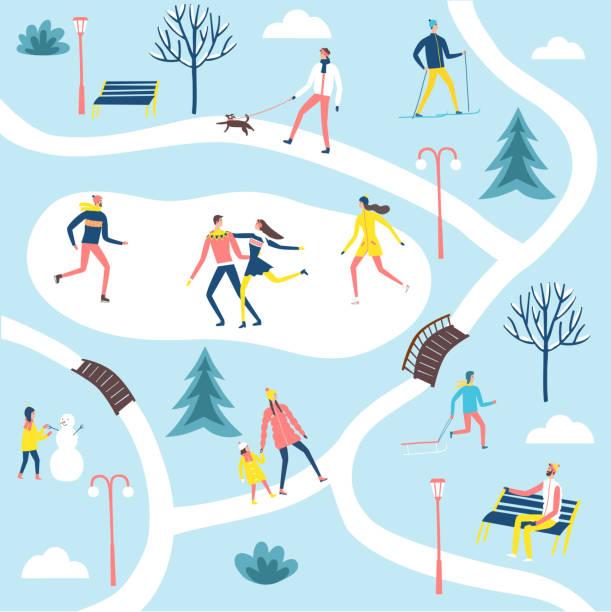 menschen im winterpark set. - urlaubsaktivitäten stock-grafiken, -clipart, -cartoons und -symbole