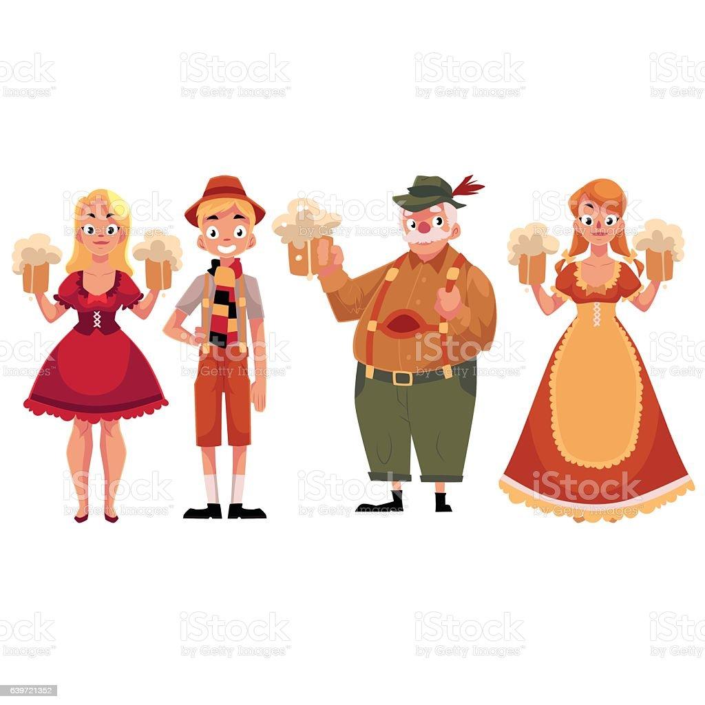 People in traditional German, Bavarian costume holding beer mugs, Oktoberfest vector art illustration