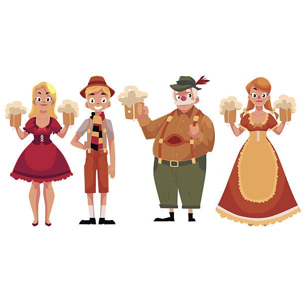 people in traditional german, bavarian costume holding beer mugs, oktoberfest - 독일 문화 stock illustrations