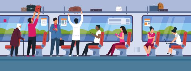 People in train. Public transport interior with different male and female cartoon characters. Vector people in subway flat banner vector art illustration