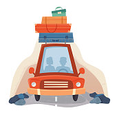 People in travel car with suitcases, road and forest trees. Flat cartoon style.