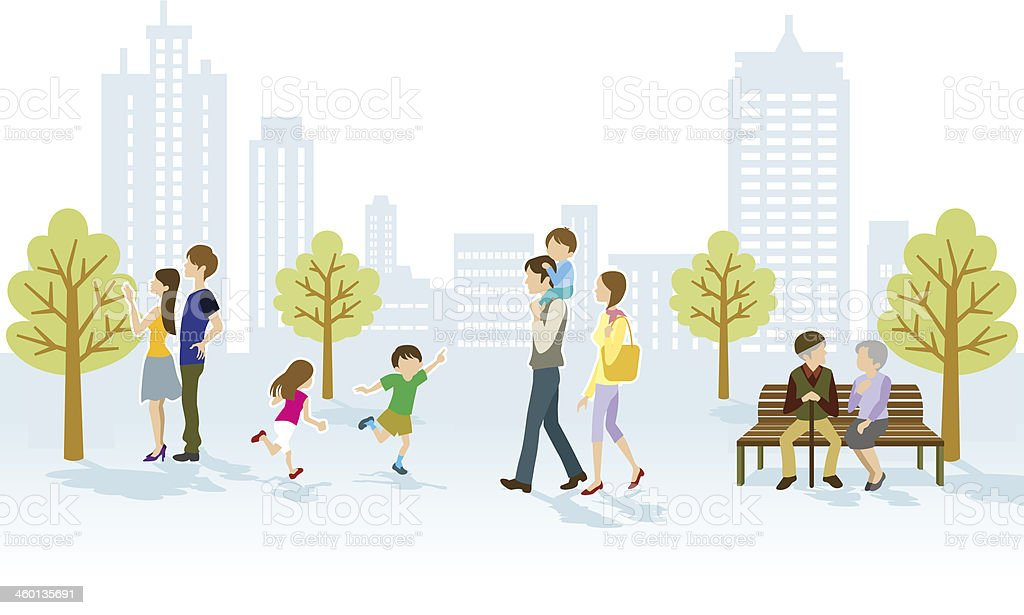 People in Urban park vector art illustration