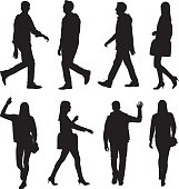 People in various action and walking