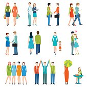 People in various lifestyles, business people, friends, senior couple, lovers, shake hand, teamwork. Character set with flat design style.