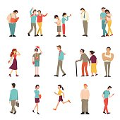 People in various lifestyles, businessman, woman, teenager, traveller, friends, sport woman, hip hop guy, senior couple, lovers. Character set with flat design style.