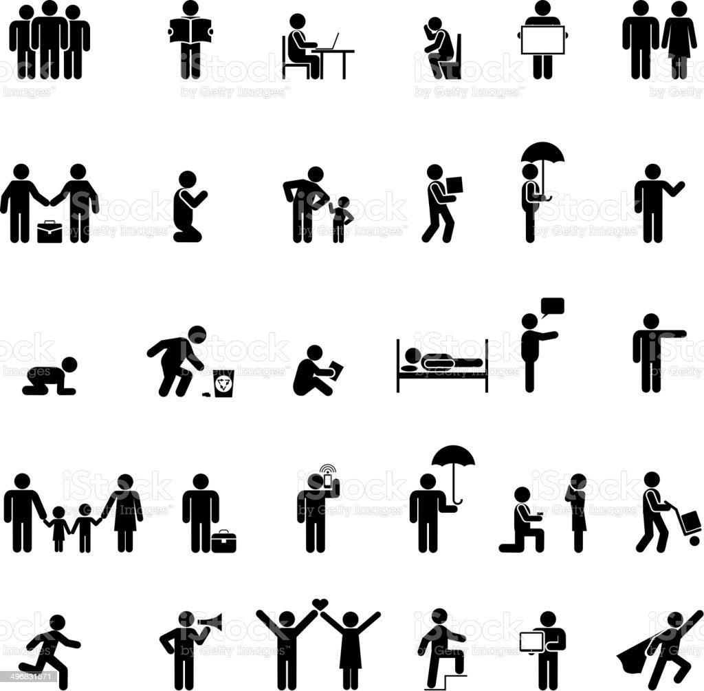 people in various poses vector art illustration