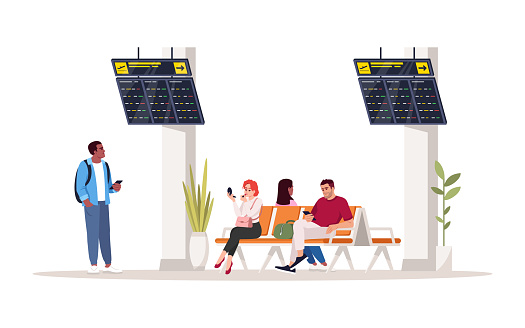People in waiting area semi flat RGB color vector illustration